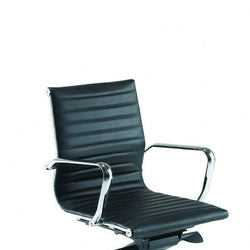 Aria AM2 Medium Back Classic Office Chair in Ribbed Leather with Chrome Detail