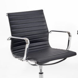 Aria AM3 Medium Back Classic Office Chair in Ribbed Leather with Chrome Detail