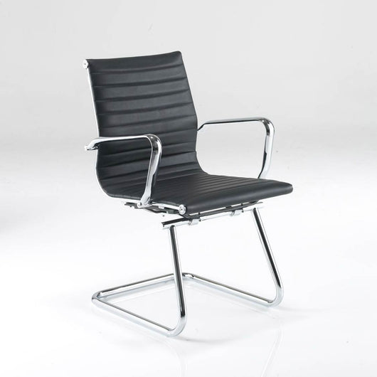 Aria AMCA Medium Back Classic Visitors Chair in Ribbed Leather with Chrome Detail