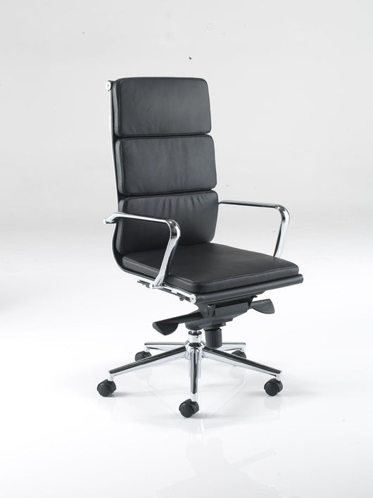 Aria CH1 High Back Classic Office Chair in Padded Leather with Chrome Detail