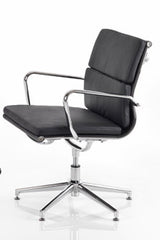 Aria CM3 Medium Back Classic Office Chair in Padded Leather with Chrome Detail