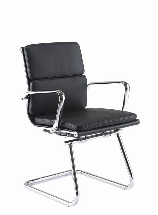 Aria CMCA Medium Back Classic Visitors Chair in Padded Leather with Chrome Detail