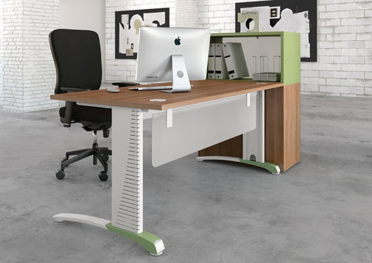 Couleur ° symmetrical top office desk with mfc modesty panel
