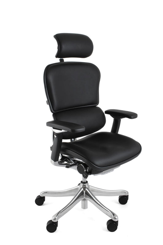 Ergohuman Plus Luxury Ergonomic Office Chair with Headrest in Black Mesh or Leather