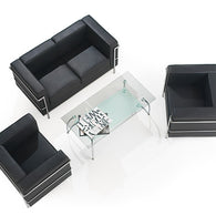 Cube Square Back Executive Sofa with Chrome Detail