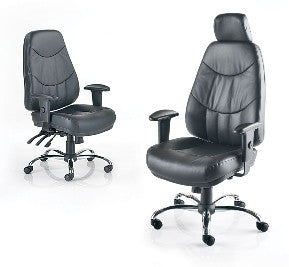 Mercury High Back Hour Office Chair In Black Leather Chrome