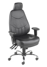 Mercury High Back 24 Hour Office Chair in Black Leather & Chrome with Headrest Option