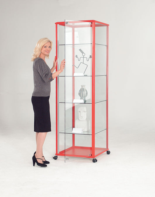 Shield Glazed Tower Unit Floor Standing Lockable Glass Display Cabinet Available in 4 Colours
