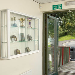 Shield Glazed Wall Cabinet Wallmounted Glass Display Cabinet in 4 Colours and 2 Sizes