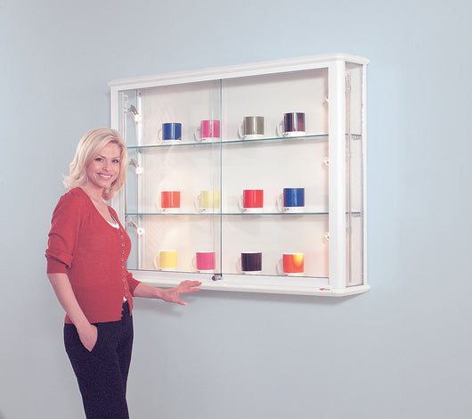 ... Shield Glazed Wall Cabinet Wallmounted Glass Display Cabinet In 4  Colours And 2 Sizes