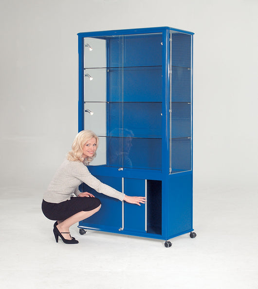 Shield Lockable Glass Display Case with Cupboard in 4 Colour Options