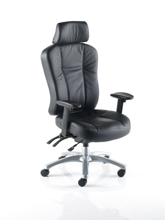 Zircon Leather High Back 24 Hour Office Chair with Arms and Headrest Option