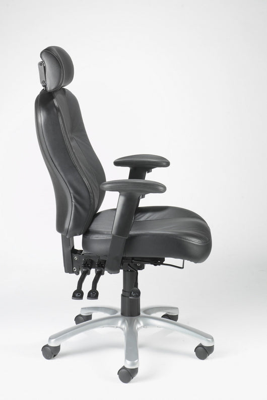 zircon leather high back 24 hour office chair with arms and