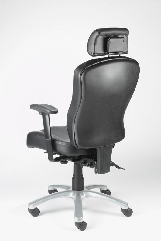 Zircon Leather High Back Hour Office Chair With Arms And