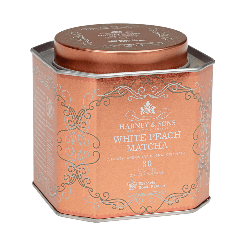 White Peach Matcha, HRP Tin of 30 Sachets - Harney & Sons Teas, European Distribution Center