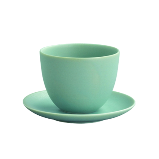 Kinto PEBBLE cup & saucer 180ml moss green - Harney & Sons Teas, European Distribution Center