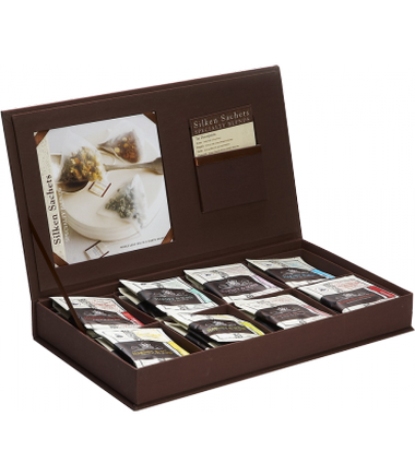 LINEN TEA CHEST IN BROWN FEATURING EIGHT TEAS