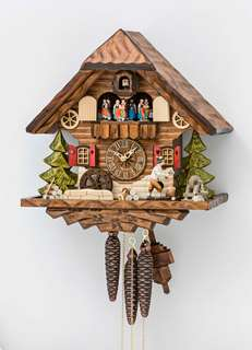 Black Forest Cuckoo Clock - Woodchopper & Dancing Couples - Cuckoos Nest