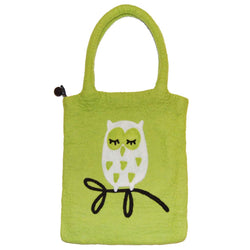 Felted Bag Tree Owl green - Cuckoos Nest
