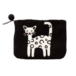 Felted purse Cat black - Cuckoos Nest