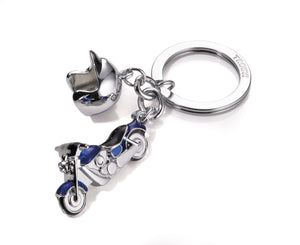 Keyring Motor Bike with Helmet Blue - Cuckoos Nest