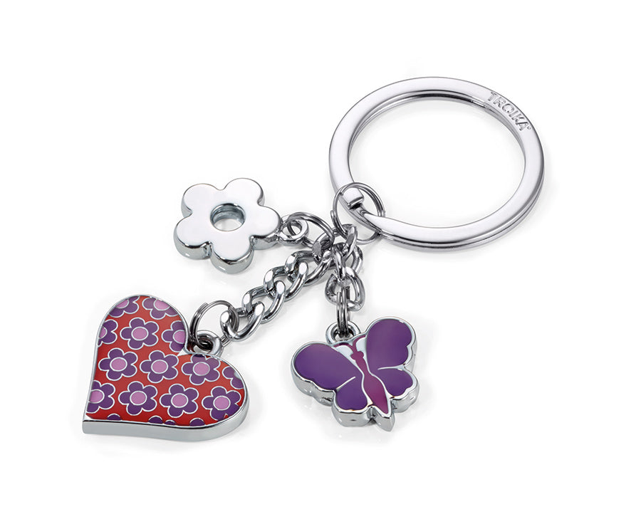 Keyring with 3 charms PINK HEART - Cuckoos Nest