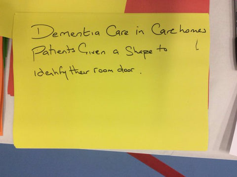 Paper reading: Dementia care in care homes. Patients given a shape to identify their room door.