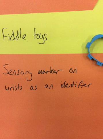 Paper read: Fiddle toys. Sensory marker on wrists as an identifier.