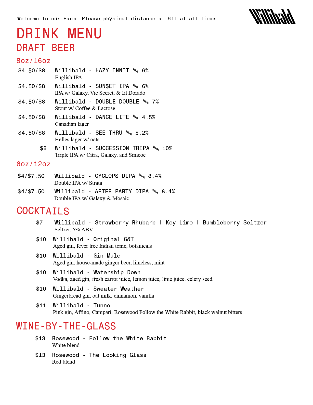 Willibald Drink Menu
