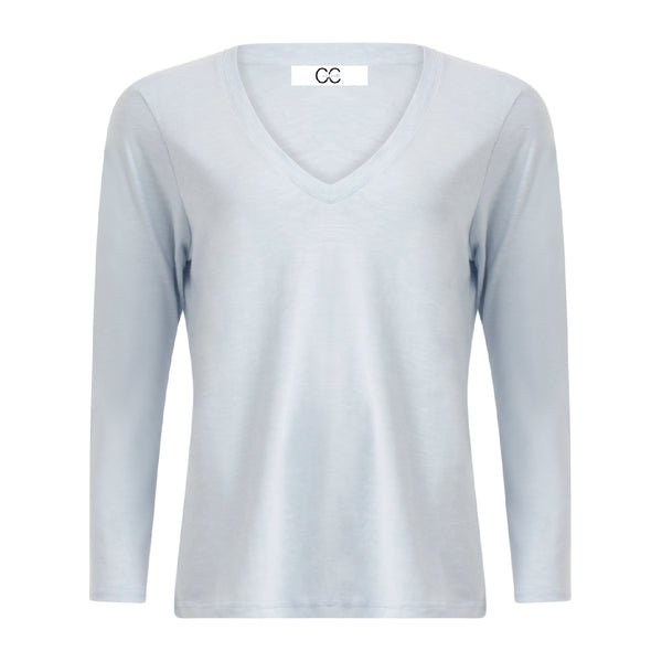 CC Heart CC Heart long sleeve v-neck t-shirt Shirt/Blouse Powder blue - 588