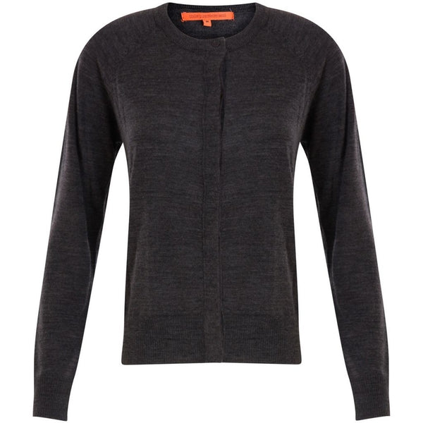 Coster Copenhagen Round neck knit cardigan merino (Basic) Knitwear Dark Grey Melange - 128