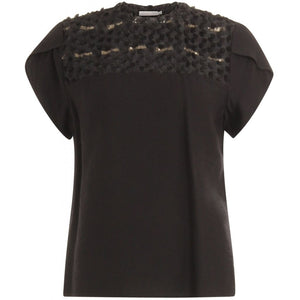Coster Copenhagen Top w. fringe lace detail Top - Short sleeve Black - 100
