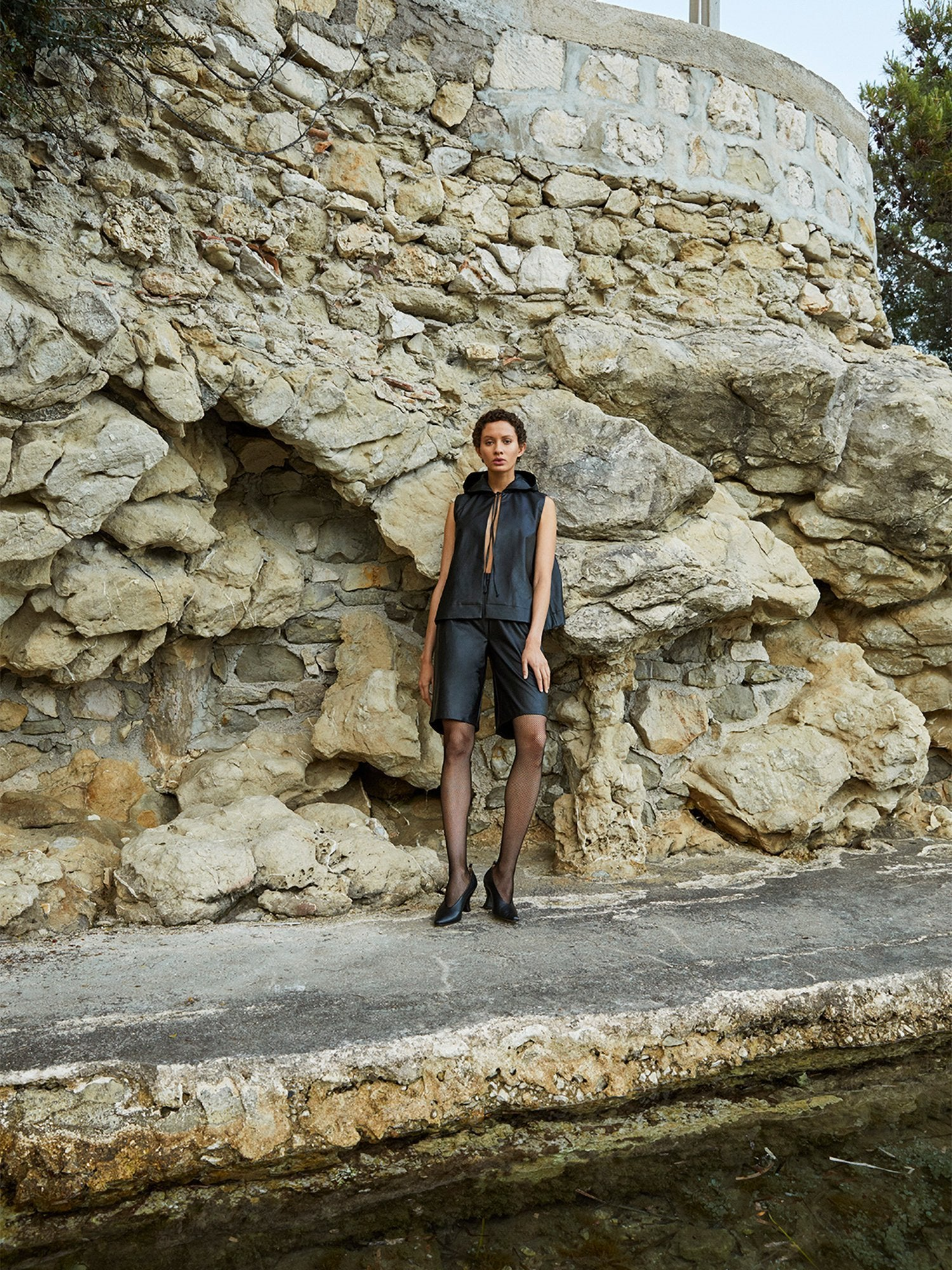 Cap d'Antibes Shorts Vegan Leather Black Deitas trousers