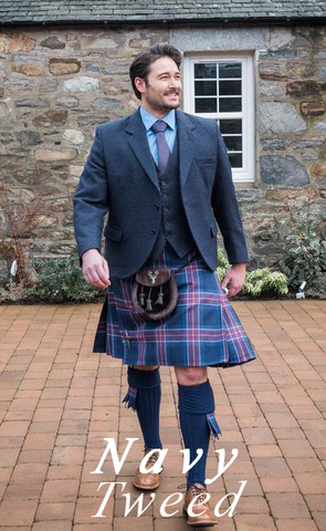 Navy Tweed Kilt Hire Outfit