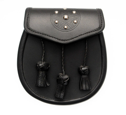 Studded Targe Black Leather Sporran