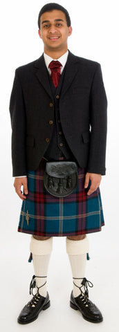 Holyrood (Charcoal Grey Tweed) & Kilt Hire Outfit (Exclusive Tartan)