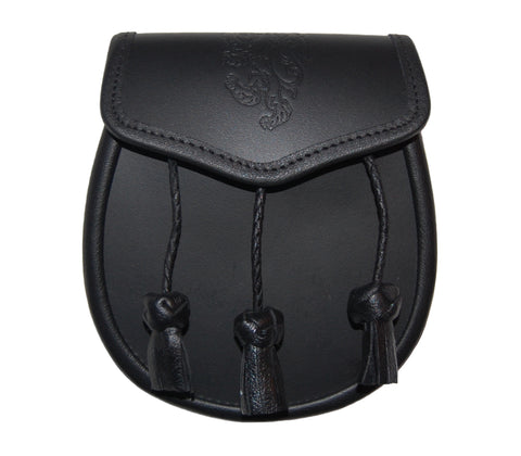 Embossed Lion Black Leather Sporran