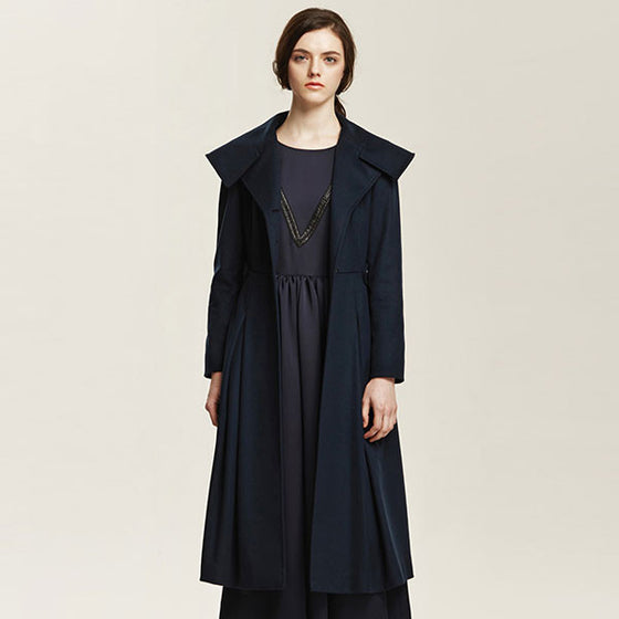 [Cahiers] Side Pintuck Maxi Coat