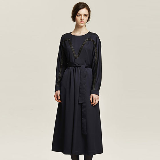 [Cahiers] Waist Belt Maxi Dress