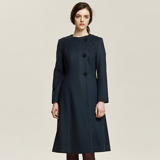 [Cahiers] Side Button Double Breasted A-line Coat