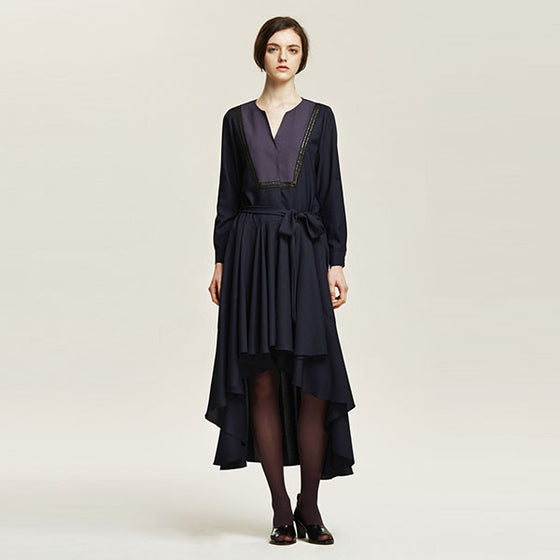 [Cahiers] Ruffled Asymmetric Maxi Dress
