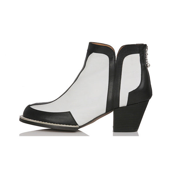 [YUUL YIE] BLACK-EDGE WHITE SHORT BOOTS - White