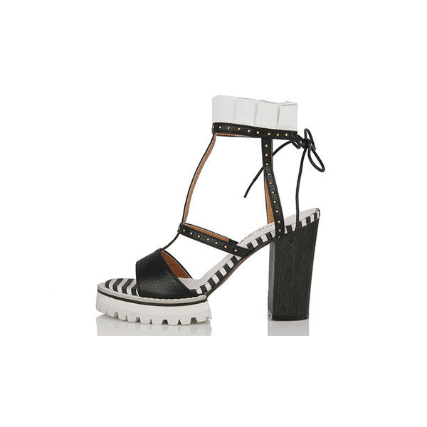 [YUUL YIE] BACK LACE-UP FRILL SANDAL