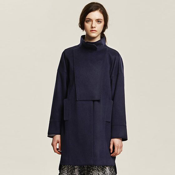 [Cahiers] Side Zipper Overlap Coat - Navy