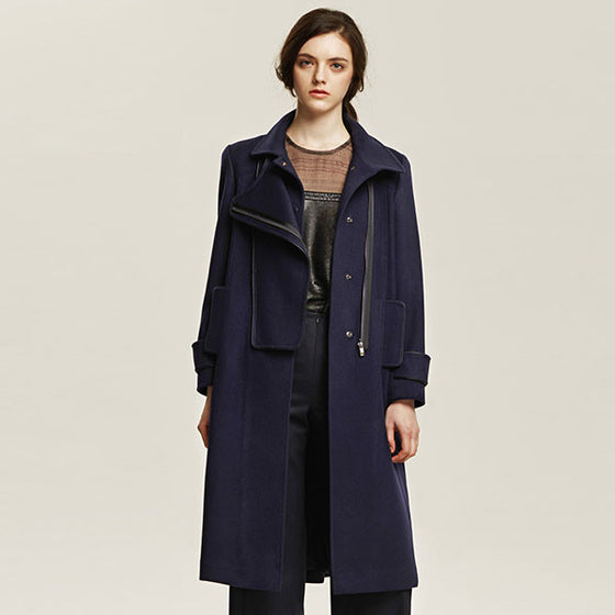[Cahiers] Side Zipper Overlap Long Coat