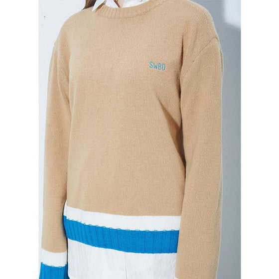 [2nd SWBD] Color Rib Sleeves Knit - CAMEL