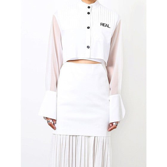 [CRES. E DIM.] SEE THROUGH CROP BLOUSE(WHITE)