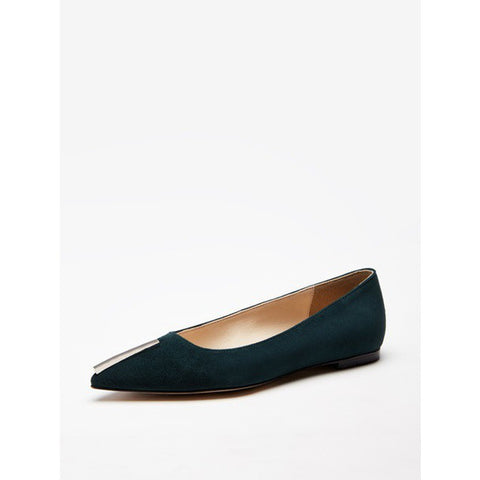 [HYOON] Metal Bar Flats _ Deep Green Suede