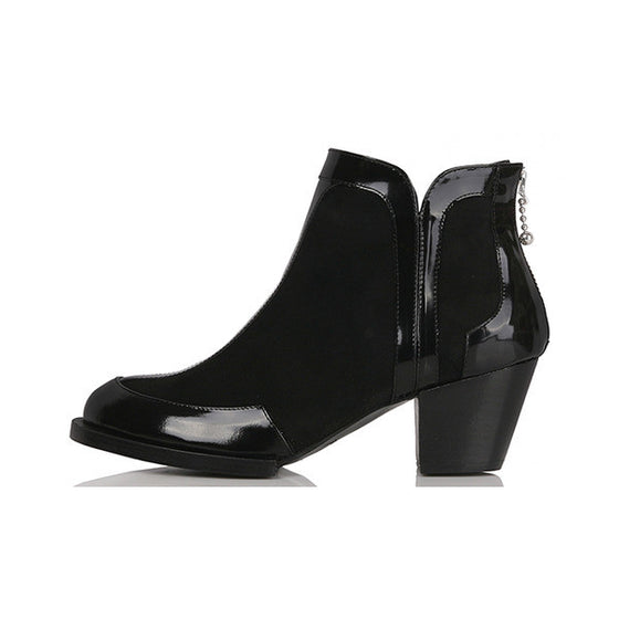 [YUUL YIE] EDGE LEATHER SHORT BOOTS - Black