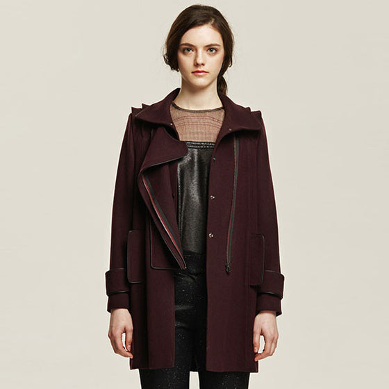 [Cahiers] Side Zipper Overlap Coat - Burgundy